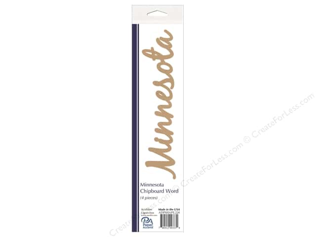 Paper Accents Chipboard Word Minnesota 4 pc. Natural