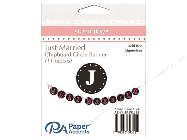 Paper Accents Chipboard Banner Just Married 11 pc. Black