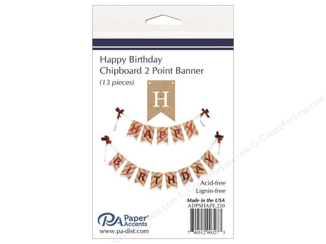Paper Accents Chipboard Banner Happy Birthday 13 pc. Natural