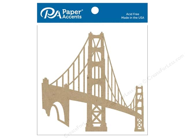 Paper Accents Chipboard Shape 4 pc. Golden Gate Bridge Natural