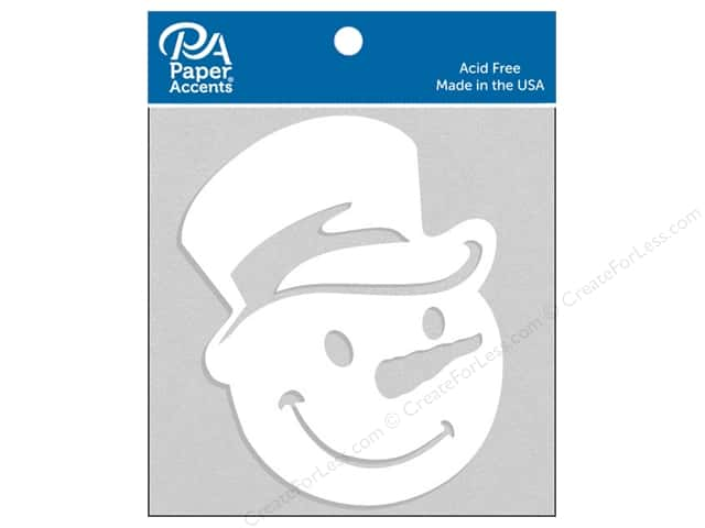 Paper Accents Chipboard Shape Snowman Face with Hat 4 pc. White