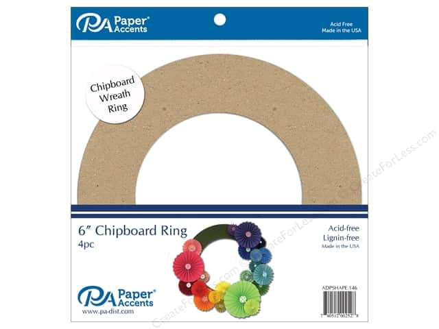 Paper Accents Chipboard Shape 4 pc. 6 in. Wreath Natural