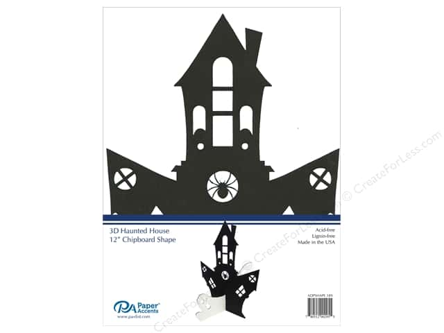 Paper Accents Chipboard Shape 1 pc. 12 in. 3D Haunted House Black