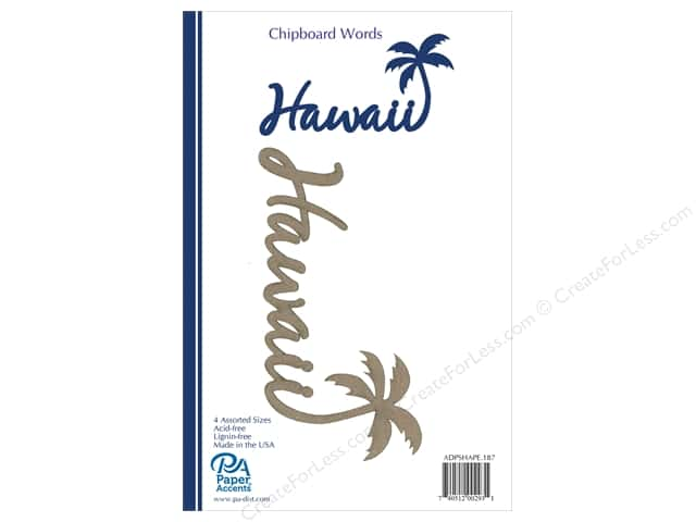 Paper Accents Chipboard Word 4 pc. Hawaii With Palm Tree Natural