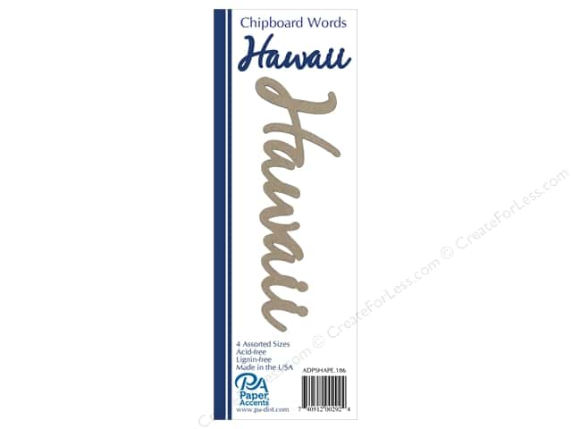 Paper Accents Chipboard Word 4 pc. Hawaii Natural