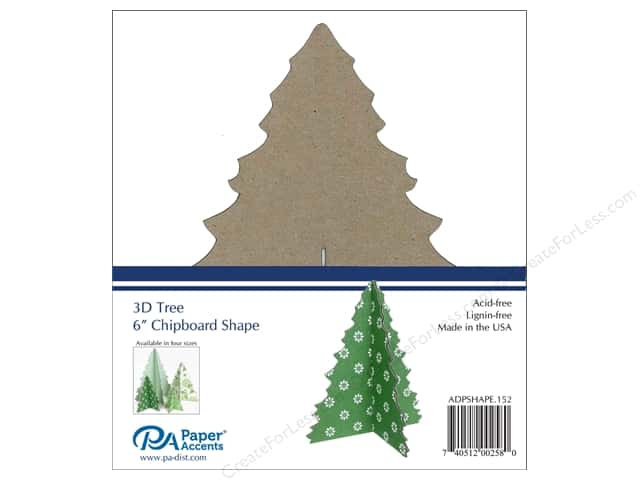 Paper Accents Chipboard Shape1 pc. 6 in. 3D Tree  Natural