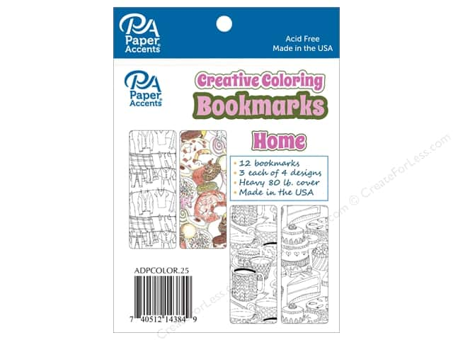 Paper Accents Creative Coloring Bookmarks 12 pc. Home