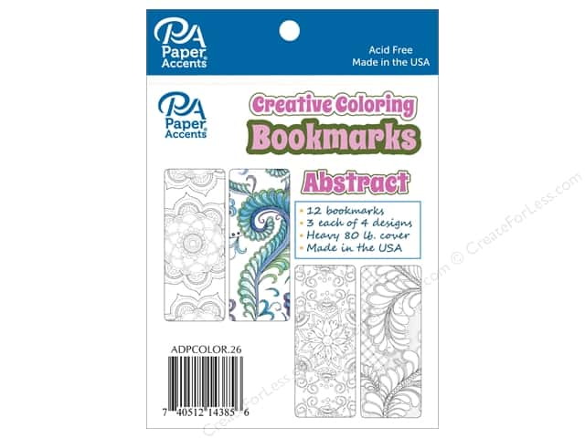 Paper Accents Creative Coloring Bookmarks 12 pc. Abstract