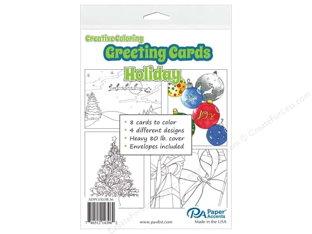 Paper Accents Creative Coloring Card & Envelopes 4 1/4 x 5 1/2 in. 8 pc. Holiday