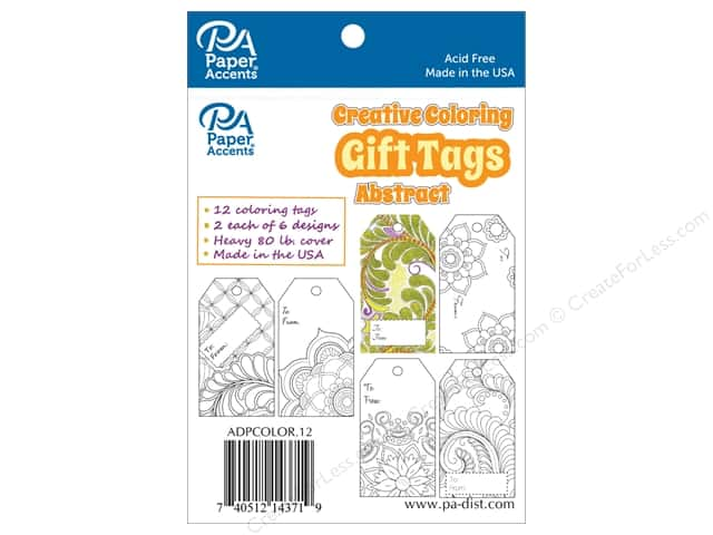 Paper Accents Creative Coloring Tags 2 x 3 3/4 in. 12 pc. Abstract