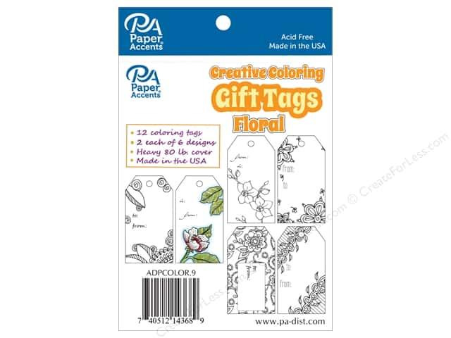 Paper Accents Creative Coloring Tags 2 x 3 3/4 in. 12 pc. Floral