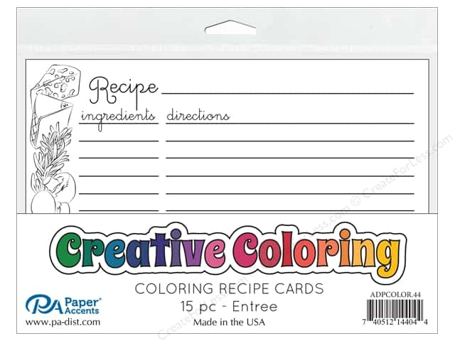 Paper Accents Creative Coloring Recipe Cards 15 pc. Entree
