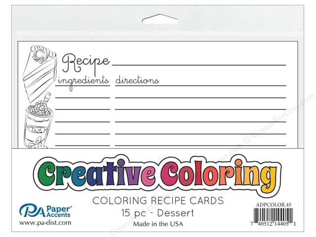 Paper Accents Creative Coloring Recipe Cards 15 pc. Dessert