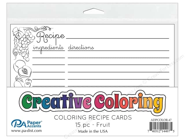 Paper Accents Creative Coloring Recipe Cards 15 pc. Fruit