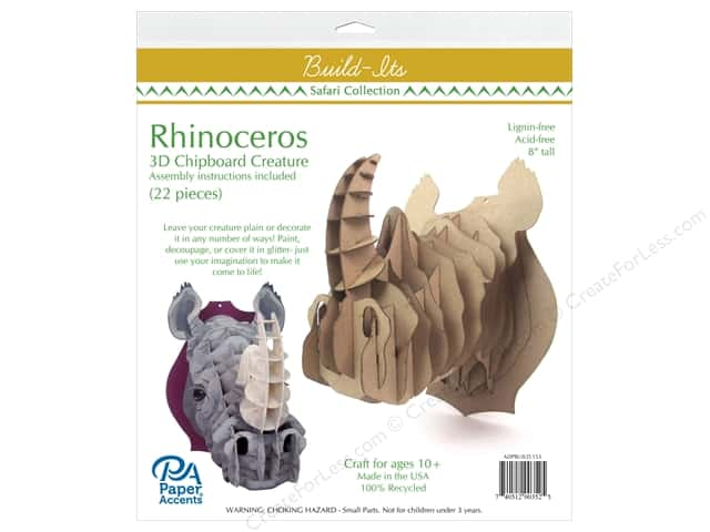 "Paper Accents Build Its Chip Rhinoceros 10"" Tall"