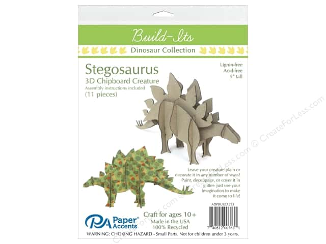 Paper Accents Chipboard Build-Its 5 in. Stegosaurus