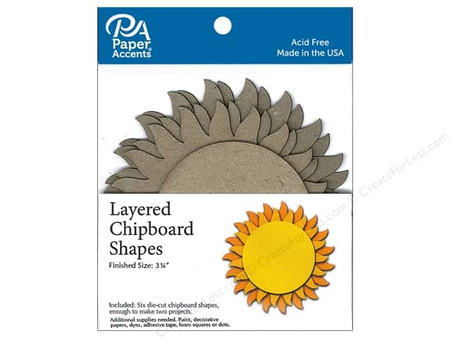 Paper Accents Layered Chipboard Shapes Sun 6 pc. Natural