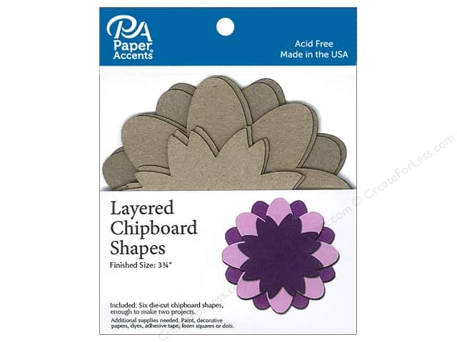 Paper Accents Layered Chipboard Shapes Flower 6 pc. Natural