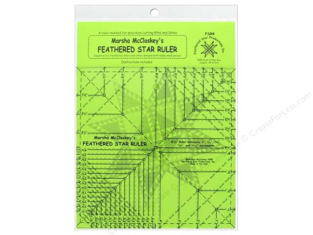 "Feathered Star Ruler 8.5"" with 8th & 16th Lines"