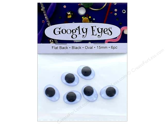 PA Essentials Googly Eyes 5/8 in. Oval 6 pc. Black