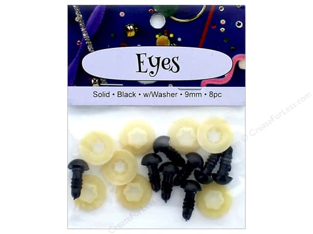 PA Essentials Solid Animal Eyes 9 mm Black 8 pc.