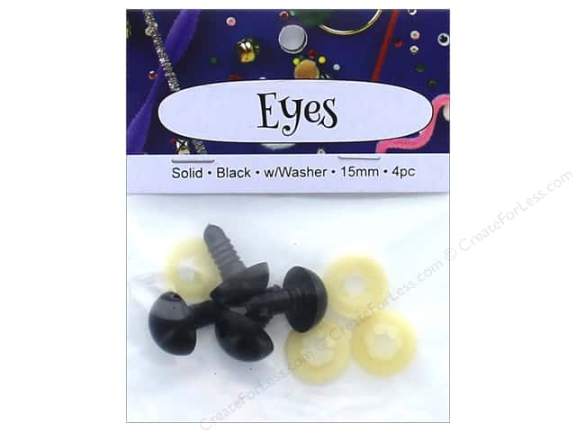 PA Essentials Solid Animal Eyes 15 mm Black 4 pc.