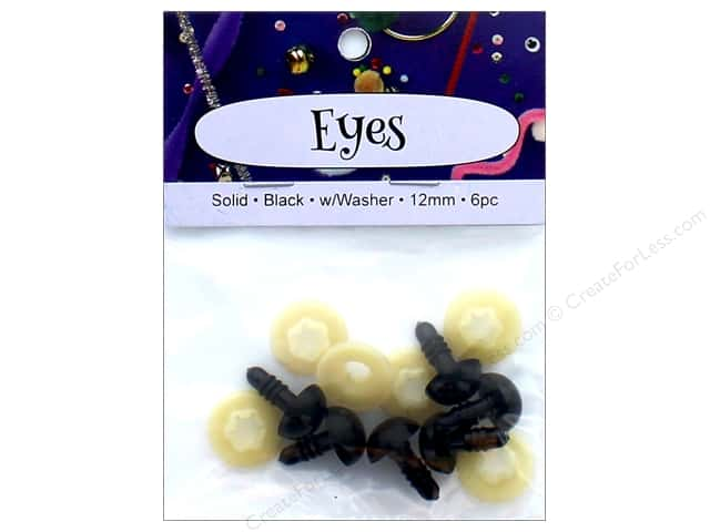 PA Essentials Solid Animal Eyes 12 mm Black 6 pc.