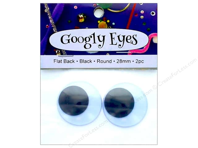 PA Essentials Googly Eyes 1 1/8 in. Round 2 pc. Black