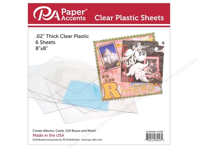 Paper Accents Plastic Sheet 8 x 8 in. Clear .02 in. 6 pc.