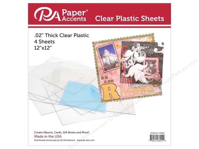 Paper Accents Plastic Sheet 12 x 12 in. Clear .02 in. 4 pc.