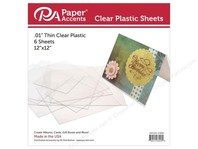 Paper Accents Plastic Sheet  12 x 12 in. Clear .01 in. 4 pc.