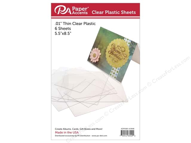 Paper Accents Plastic Sheet  5 1/2  x 8 1/2  in. Clear .01 in. 6 pc.