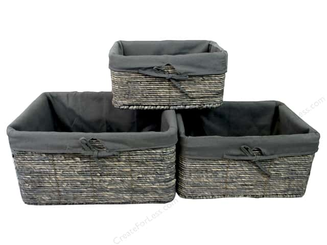 Sierra Pacific Crafts Baskets Rectangle With Liner Set of 3 Gray