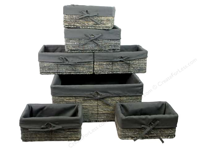 Sierra Pacific Crafts Decor Baskets With Liner Set of 7 in 3 Sizes Gray