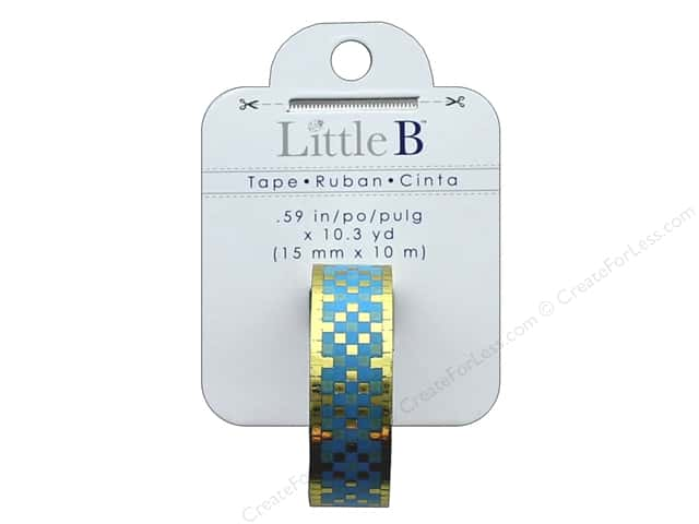 Little B Decorative Paper Tape 5/8 in. Foil Squares Blue