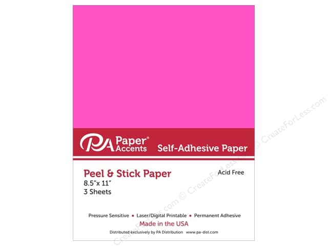 Paper Accents Adhesive Paper 8 1/2 x 11 in. Neon Pink 3 pc.