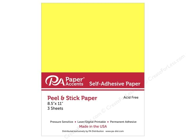 Adhesive Paper by Paper Accents 8 1/2 x 11 in. Neon Yellow 3 pc.