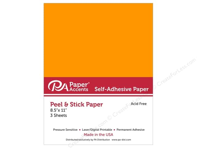 Adhesive Paper by Paper Accents 8 1/2 x 11 in. Neon Orange 3 pc.