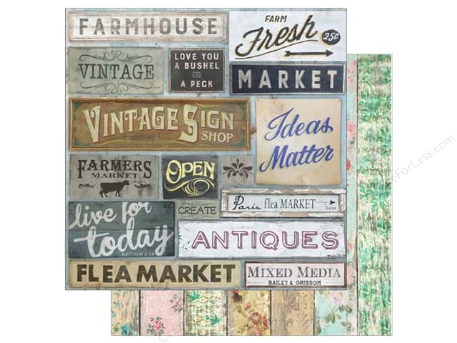"7 Gypsies Collection Architextures Paper 12""x 12"" Market Signs (15 pieces)"
