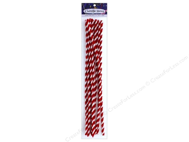 PA Essentials Chenille Stems 8 mm x 12 in. Candy Cane Twist 12 pc.