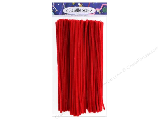 PA Essentials Chenille Stems 6 mm x 12 in. Red 250 pc.