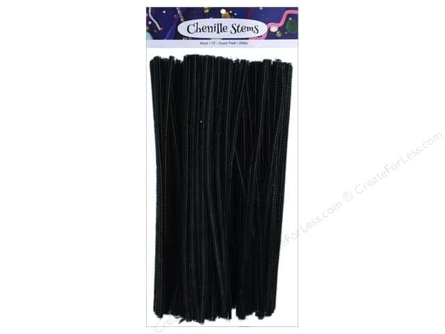PA Essentials Chenille Stems 6 mm x 12 in. Black 250 pc.