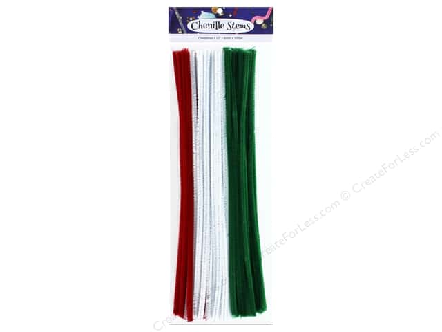 PA Essentials Chenille Stems 6 mm x 12 in. Christmas 100 pc.
