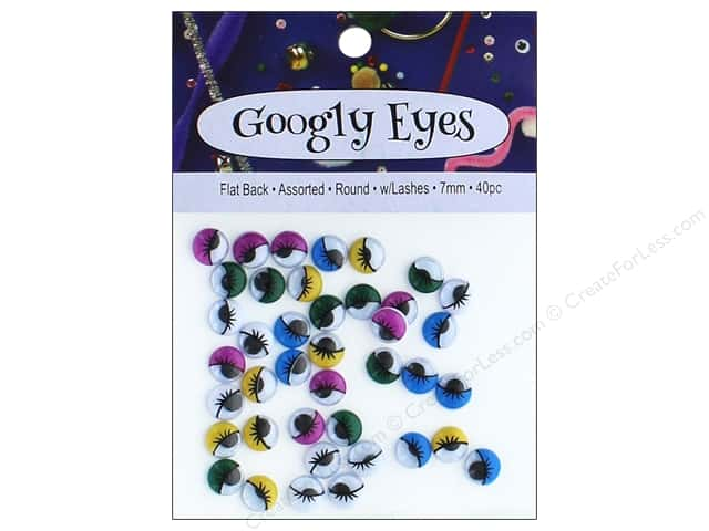 PA Essentials Googly Eyes 1/4 in. Round 40 pc. Assorted with Lashes