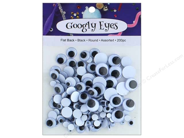 PA Essentials Googly Eyes Assorted Round 200 pc. Black