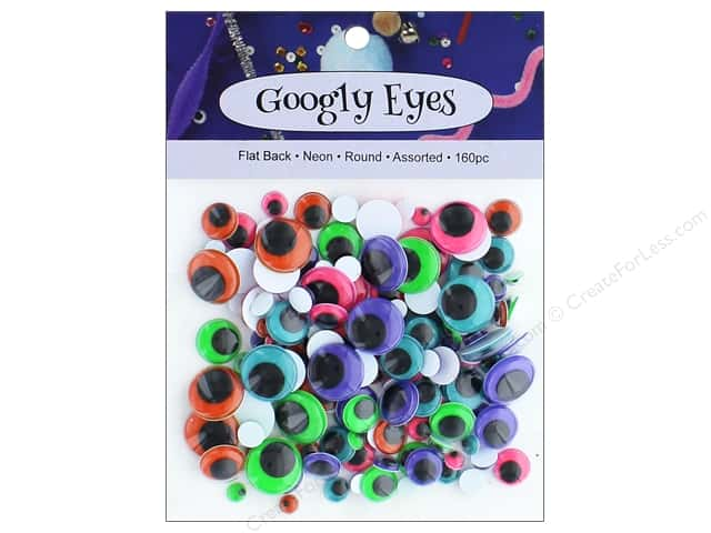 PA Essentials Googly Eyes Assorted Round 160 pc. Neon