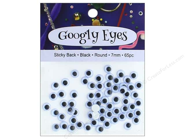 PA Essentials Sticky Back Googly Eyes 9/32 in. Round 65 pc. Black