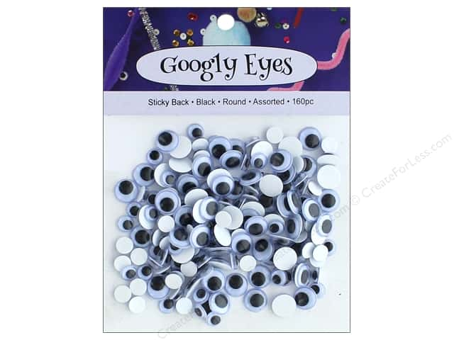 PA Essentials Sticky Back Googly Eyes Assorted Round 160 pc. Black