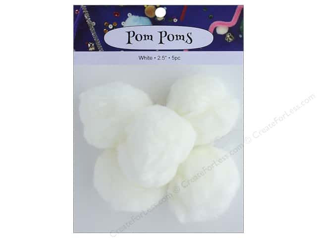 PA Essentials Pom Poms 2 1/2 in. White 5 pc.