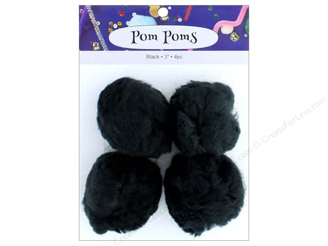 PA Essentials Pom Poms 3 in. Black 4 pc.